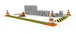 traffic cones with yellow and black lines and the words: under construction (3d render)