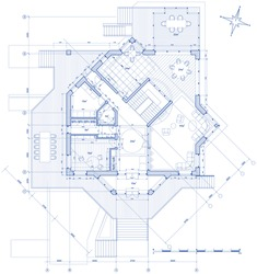 house plan: vector blueprint. Bitmap copy my vector ID 14377873