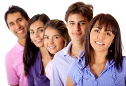 Group of young people in a row - isolated over a white background