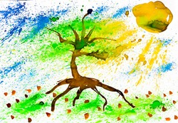 watercolor painting tree with grass and the sky the sun