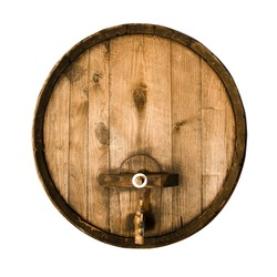 Old wooden barrel isolated on a white background