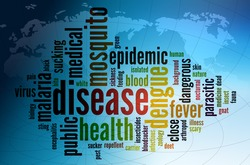 Wordcloud illustration of dengue fever disease around the world