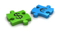 puzzle pieces with the symbols of euro and dollar currency (3d render)