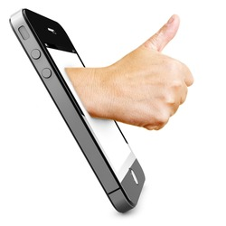 Hand in a smartphone display holding thumbs up