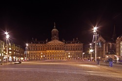 The Royal Palace on the Dam square in Amsterdam the Netherlands at night