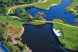 aerial view of nicely manicured florida golf green