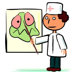 Cartoon doctor showing with pointer big germ on poster