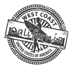Grunge rubber stamp with name of California, vector illustration