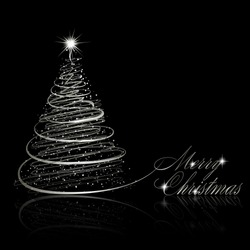 Silver Christmas tree on black background. Vector eps10 illustration