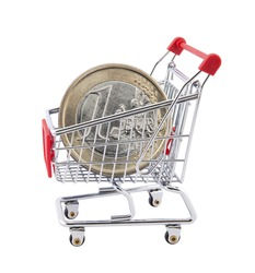 Shopping cart with euro coin on white background