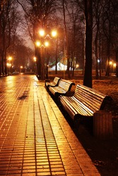 Famous Mariinsky park at rainy weather in the evening, Kiev, Ukraine