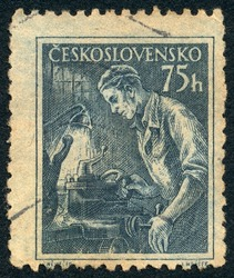 CZECHOSLOVAKIA - CIRCA 1954: A stamp printed in Czechoslovakia, shows Lathe operator, series, circa 1954