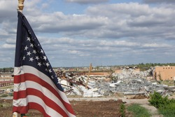 American Flag Waiving After Tornado