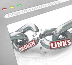 A web browser window shows connected chain links broken to represent broken hyperlinks and hotlinks