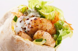 PIta stuffed with Prawn and salad