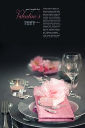 Restaurant series. Valentine' day   dinner with table setting in pink and gray  and holiday elegant  heart ornaments