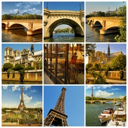 Paris collage. Romantic symbols of Paris: Eiffel Tower, parisian palaces, bridges over the Seine, Notre Dame cathedral,. France.