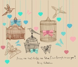 Valentine hand drawing background with cages and birds, vector
