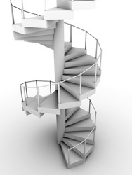 Snail staircase in white. Circular construction. 3d render
