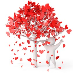 Petals fall from the tree, rose petals in heart shape, a man stands under a flowering tree, 3d render