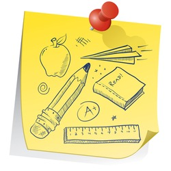 Doodle style school equipment on yellow sticky note sketch in vector format.  Includes pencil, apple, ruler, book, grade, and paper airplane.
