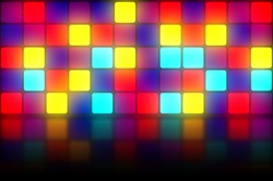 Colorful 80s club dancefloor background with glowing light grid
