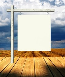 3d empty billboard frame on stage and landscape background