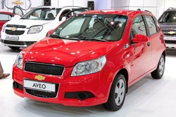 "KIEV - SEPTEMBER 10: Chevrolet Aveo at yearly automotive-show ""Capital auto show 2011"". September 10, 2011 in Kiev, Ukraine."