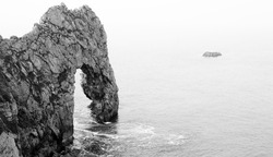 Black and White Lulworth Cove, Durdle Door, Coastal Rock Arch Abstract