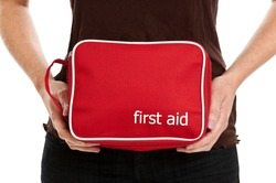 Hands holding a first aid kit