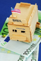 american bank over euros banknotes