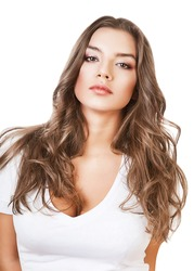 sexy serious girl with long hair on white background