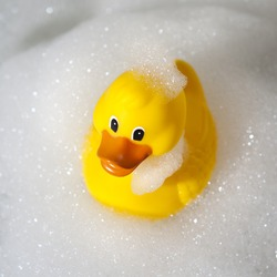 Rubber duck covered in soap