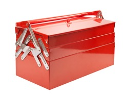 Red metal toolbox isolated on white