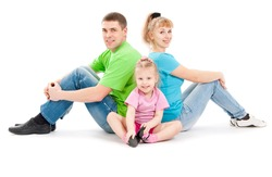 Family with daughter, a white background