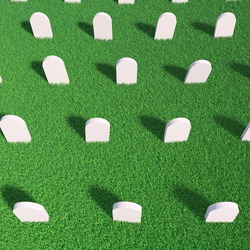 Cemetery. Rows of empty tombstones in a green grass meadow. 3d render iluustration