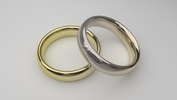 gold and white gold wedding rings