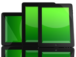 Group of Tablet Computers with green screen isolated on white