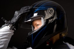 Close image of motorcyclist