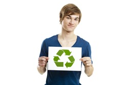 Casual young man holding a recycling sign to promote a green and better world, isolated on white background