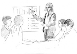 pencil drawing of a business presentation with speaker and listeners