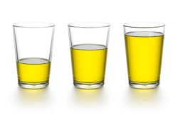 Measuring variations in the tumbler of olive oil. 50ml, 100ml, 150ml cooking oil.  Merged three shot.