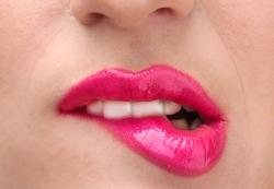 beautiful make up of glamour pink gloss lips