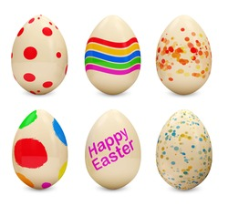 Set of Painted Easter Eggs on white background