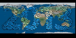 2013 new year modeled with tridimensional blocks over the world image