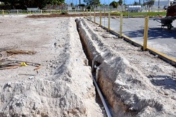 Trench For Laying Water Pipes At Construction Site