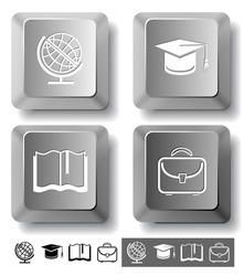 Education icon set. Graduation cap, book, briefcase, globe. Computer keys. Raster illustration.