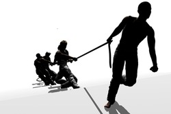 Silhouettes of people pulling the rope on a white background