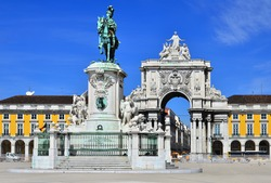 Praca do Comercio (Commerce Square) is located near Tagus River in Lisbon, Portugal. In the center is statue of  King Jose I.