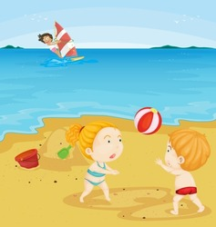 Illustration of kids playing at the beach